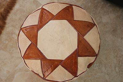 Handmade Moroccan Pouf Genuine Leather Pouffe Ottoman Footstool Hassock.