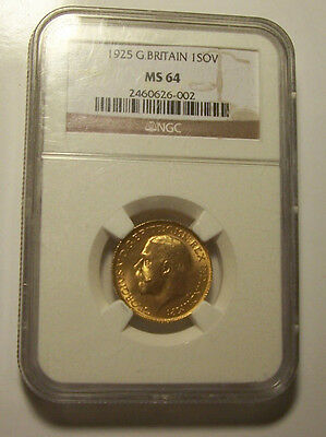 Great Britain, 1925 George V Gold Sovereign, MS - 64 NGC. 4,406,000 Mintage.