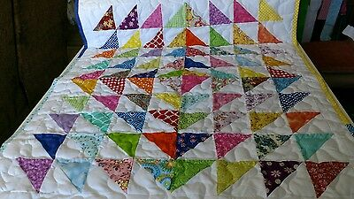 Handcrafted Pieced Boy Girl Scrappy Radiating Center Triangles Baby Crib Quilt