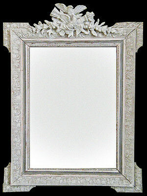 Antique French Mirror, Carved Wood, Gesso & Gilt, Carved BirdCrest, 19th Century