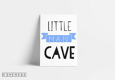 Little Man Cave Nursery Quote Wall Art Print Typography Boys Room Decor A4 New