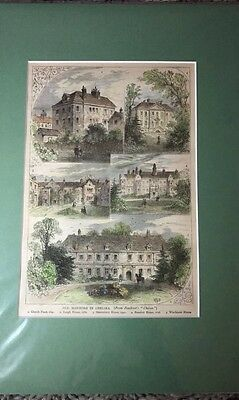 Original Victorian Wood Cut Engraving Of Old Mansions In Chelsea London
