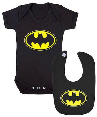 Batman Logo Baby Vest and Bib Gift Set. Funny Christening New Born Baby.