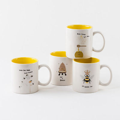 EM1185 Busy Bees Set/4 Coffee Mug Tea Cup Kitchen Party Bumble Honey BeeKeeper