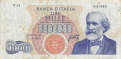 Italy  1000 Lire  20.5.1966  P 96d Series V 41 circulated Banknote 3D