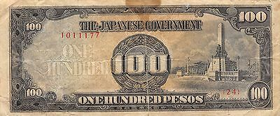 Japanese Government / Philippines *100* Pesos  WW II  circulated Banknote , A 20