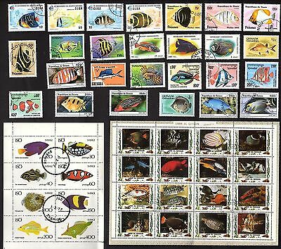 50 All Different SALT WATER TROPICAL FISH  on Stamps