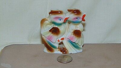 Vintage Ceramic Brown Pink And Blue Birds Figure Japan