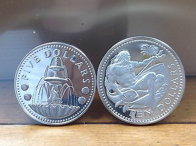 1973 Barbados Silver Proof 5 & 10 Dollars - Shell Fountain- Neptune