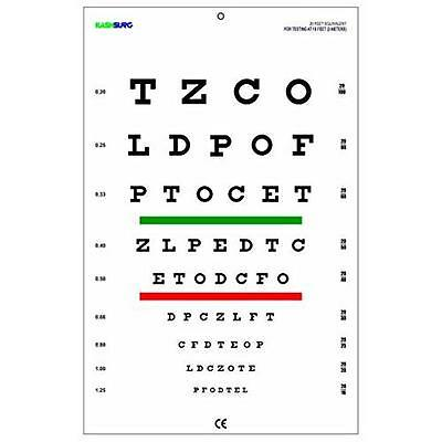 Snellen Chart with Red Green Lines 10 Feet New