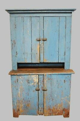 Stunning 19th Century Blue Early American Two Piece Step Back Cupboard Ohio