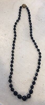 VICTORIAN Antique JET Black FACETED Graduated Beads MOURNING NECKLACE Beaded 26""