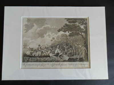 Original Print C1793 ESCAPE of Captain COOK from NATIVES of ERREAMANGEA (Bankes)