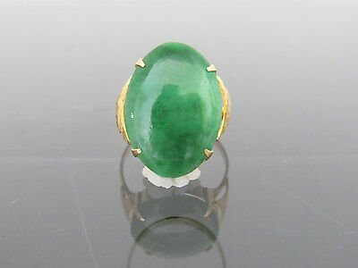 Vintage 18K Solid Yellow Gold Oval Natural Green Jadeite Jade Ring Size 9.5