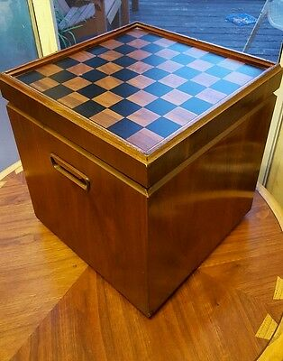 Mid Century Modern 1962 Storage Chest Chess Board Top by Lane Danish Look