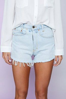 New Women's Vintage Levi's Distressed Denim Shorts Light Blue