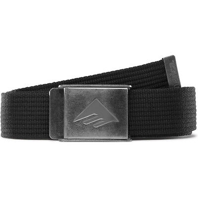 Emerica Belt Kemper Black Web Silver Buckle OSFA Skateboard Belt FREE POST