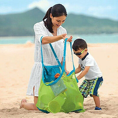Family Beach Mesh Bag Tote Organize Sand Away Bags Kids Carrying Toys Bag US