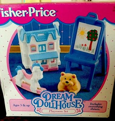 Fisher Price Vintage Furniture Loving Family Playroom Set   In Original Box