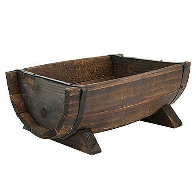 Burntwood Half Barrel Floral Planter Wooden Wood Outdoor Garden Feature