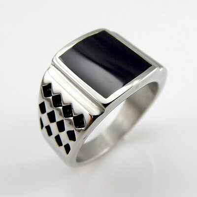 Square Black Onyx 925 Sterling Silver Gothic Handmade Size 8 9 10 11 Mens Ring