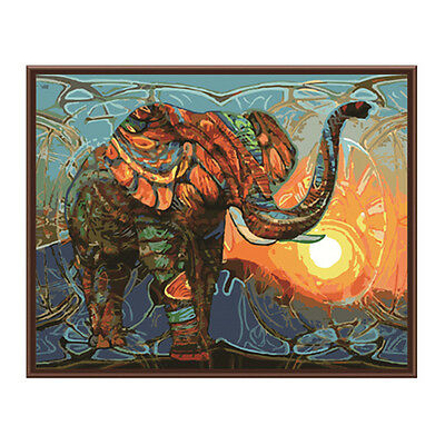 New Frameless Pictures Painting By Numbers Wall Art Abstract Elephant Z9P8