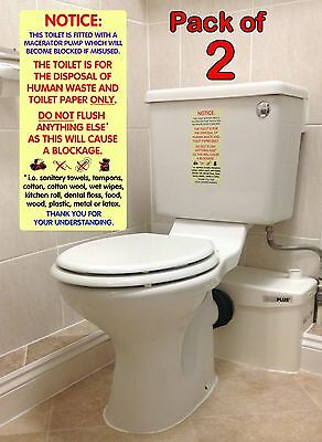 2x WATERPROOF Notices / Sticker Signs for Macerator Toilets.  Fits Saniflo.