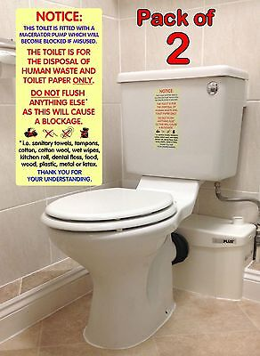 2x WATERPROOF Sticker Signs / Notices for Macerator Toilets.  Fits Saniflo.