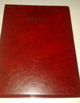 QTY 30 (Thirty)A4 MENU COVER/FOLDER IN RED LEATHER LOOK PVC + two double pockets