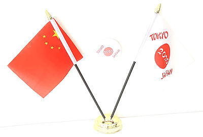China & Tokyo Japan Olympics 2020 Desk Flags & 59mm BadgeSet