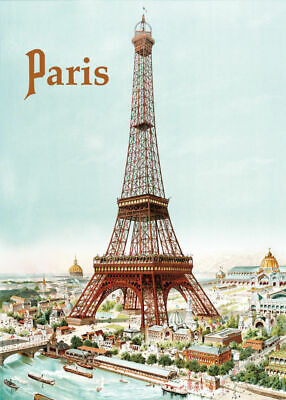 LARGE French Chic Style Paris Eiffel Tower Metal Wall Sign Plaque 30x40cm