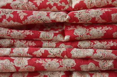 Antique Turkey Red Printed Cotton Fabric Yardage c1890-1900~Quilters,Dolls~2ydsL