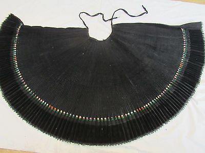 Hand Embroidered Skirt Antique Woven Folk Costume Lace Pleated 100% Wool