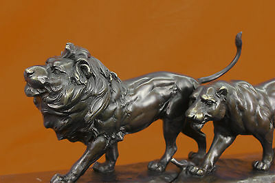Handcrafted Detailed Pair Lion Made by Lost wax Method Massive 34Lbs Masterpiece