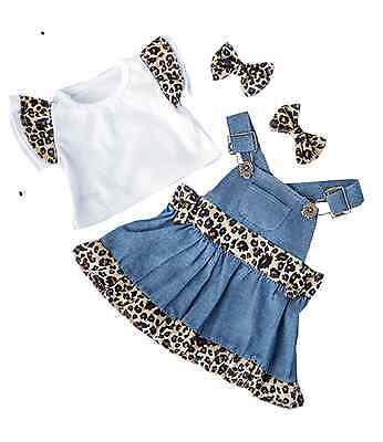 "Denim 'Cheetah' Dress outfit / Teddy clothes for 15/16"" build a bear / factory"