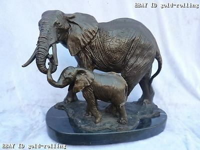 "12""Chinese Bronze&Marble carved Eximous Mother lifelike Son Elephant Sculpture"