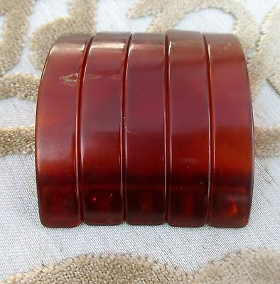 "Set of 5 Vintage Amber Caramel Drawer Pulls Bakelite Cabinet Handles 3"" Long"