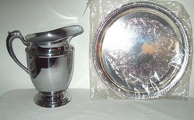 Vintage Chromium Plated Water  Pitcher Serving Pitcher Bonus Silver Serving Tray