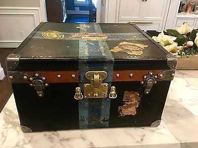 Huge CUSTOM MADE Antique Louis Vuitton CUBE trunk Steamer Asniers label 1920s