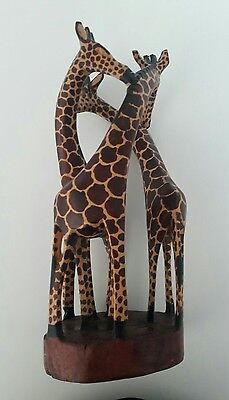Hand Carved 3 Three Giraffe Family African Art Sculpture Figurine Kenya
