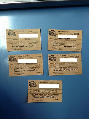 Vintage 1940's Buster Brown Shoe Company Wage Records Salem, IL