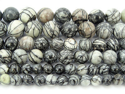 Natural Spider Web Jasper Gemstone Round Spacer Beads 15.5'' 4mm 6mm 8mm 10mm