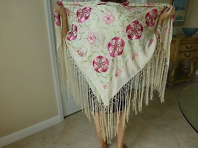 Vintage Silk Victorian Embroidered Floral Shawl/Wrap