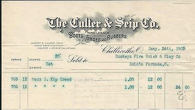 1905 Chillicothe OH Culter & Seip Co WS Boots/Shoes/Rubbers Billhead