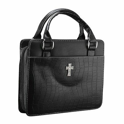 Classic Croc Purse-Style Bible / Book Cover w/Cross Large, Black