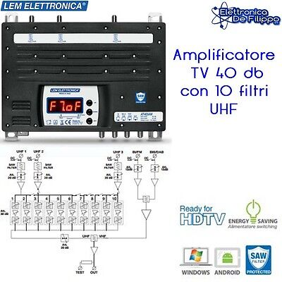 Amplificatore segnale TV 2 IN VHF 3 UHF 40db/119db Lem Elettronica