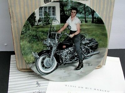 "Elvis Looking at a Legend #8 "" Elvis on His Harley "" Delphi Plate w/ Box COA"
