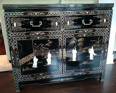 Oriental Furniture Black Lacquer Cabinet w/Wall Plaque.  Local Pick up only.