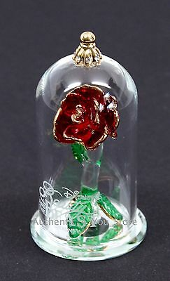 """NEW Disney Arribas Brothers Beauty & the Beast Enchanted Rose 2.5"""" Glass Dome"""
