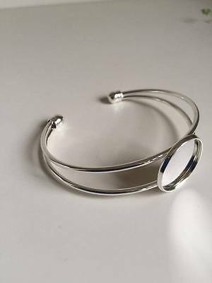 1 pc 20mm Round Bangle Bracelet Blank Tray Cabochon Cameo Base bezel (184)